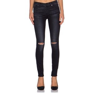 7 For All Mankind Black Distressed Skinny Jeans